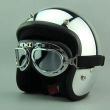 US $68.00 Hot sales Silver mirror chrome motorcycle helmet Vintage scooter open face helmet Harley Retro 3/4 moto casco DOT capacete. Aliexpress product