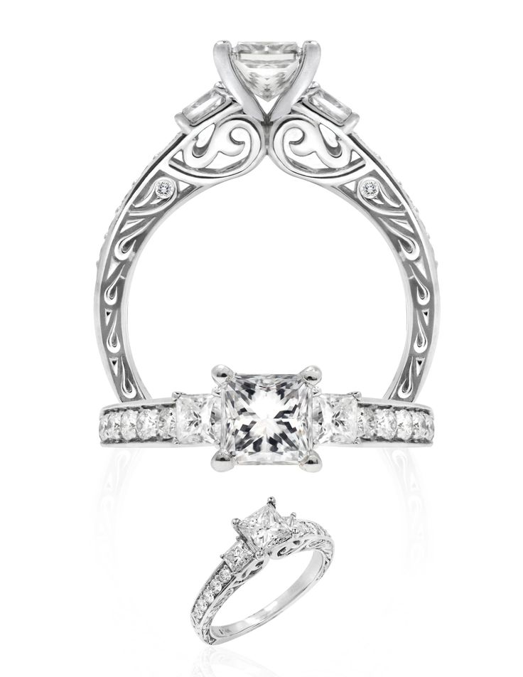 Kapili Alohi Comes In 14k White Gold And 1ct Center Princess Stone Can Be Set