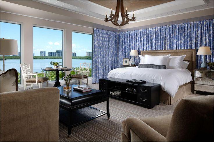 Master bedroom. Recessed ceiling. Chandelier. Ocean view. Home custom designed by Don Stevenson Design, Inc. & Lotus Architecture. Naples, FL.