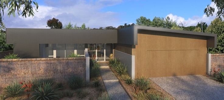 Flat Roof Home Skillion Style Garage Elevation Style