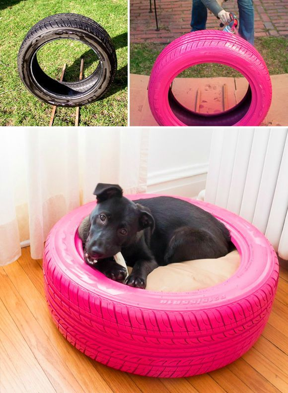 Making Sleeping Arrangements: Creative Ideas for DIY Dog Beds - #4 Chew proof and indestructible tire dog bed DIY