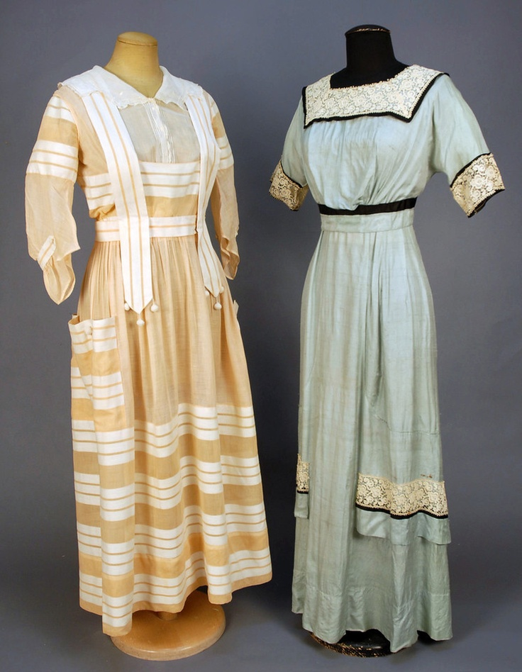TWO SUMMER DRESSES, c. 1915. One peach cotton gauze with white stripe having pannier pockets and crocheted ball tassels, white lawn bodice insert with embroidery and lace. B-34, W-26, L-51. (Few tiny spots, 1/8 inch hole in skirt). One blue slubbed silk trimmed with lace and black satin bands. B-34, W-24, L-53. - whitakerauction