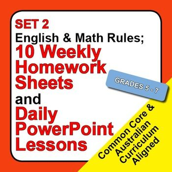 Learn, study and review basic English and Math rules daily with this 2nd set of 10 premium quality homework sheets and PowerPoint review lessons.This is an ideal educational resource for teaching, learning and/or reviewing English and Math rules for Grades 5 through 7.This package of 10 PowerPoint presentations and worksheets is perfect for both introducing the basic concepts in English and Math; and for reviewing them again and again so that your students develop instant recall.Each ...