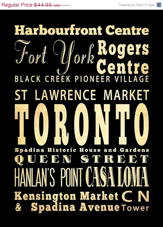 ON SALE Toronto Canada Typography Art Poster / by LegacyHouseArt, $39.95