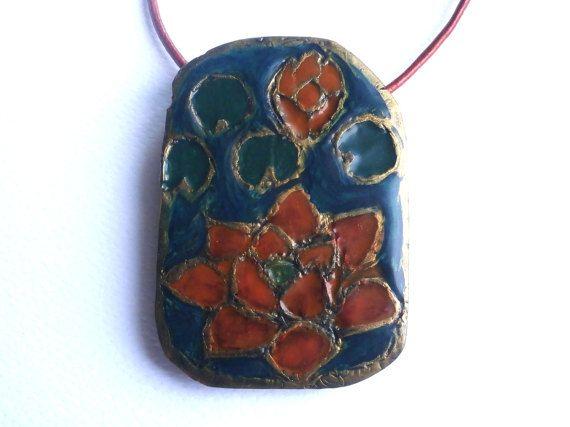 Faux enamel pendant polymer clay flower necklace by Lijoux