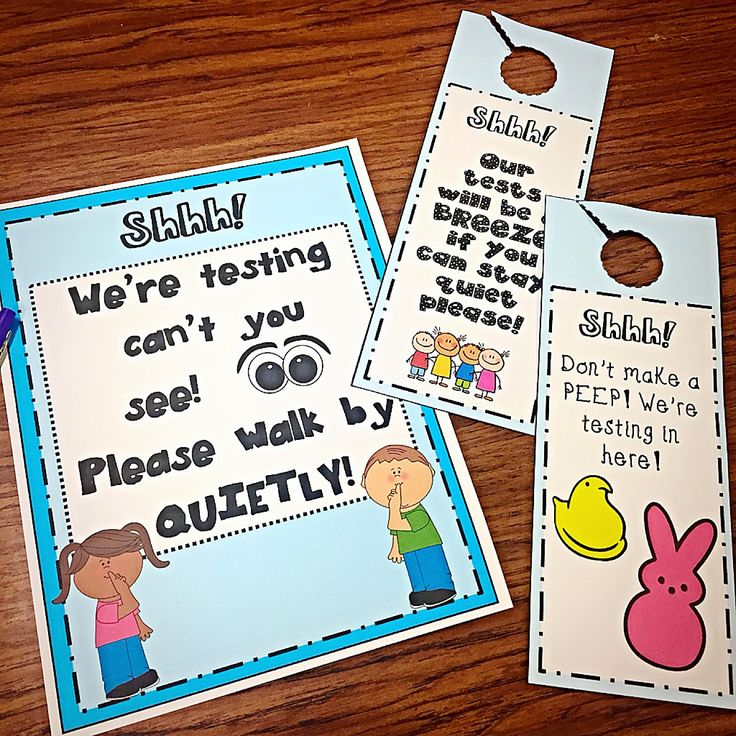 Make staying quiet for testing a little more fun with these adorable signs and door hangers!