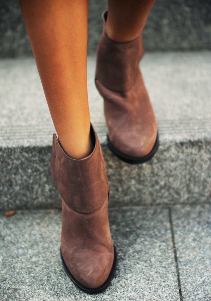 Brown booties.