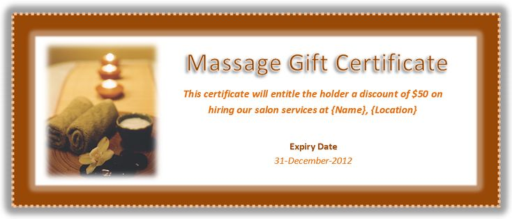 Massage Gift Certificate Template