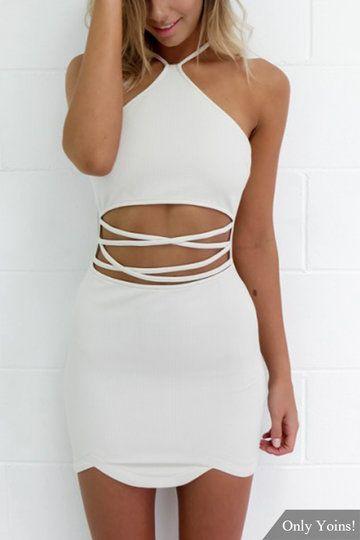 Sexy Halter Neck & Cutout Waist Mini Dress in White