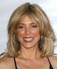 Marla Maples Hairstyle: Casual Medium Straight Hairstyle. Up to 60 yrs. This fantastic medium length hairdo is layered all through the back and sides to lighten the length and encourage movement through out. This highlighted 'do is easy to re-create with a blow-wave and will need a little product for hold and shine.