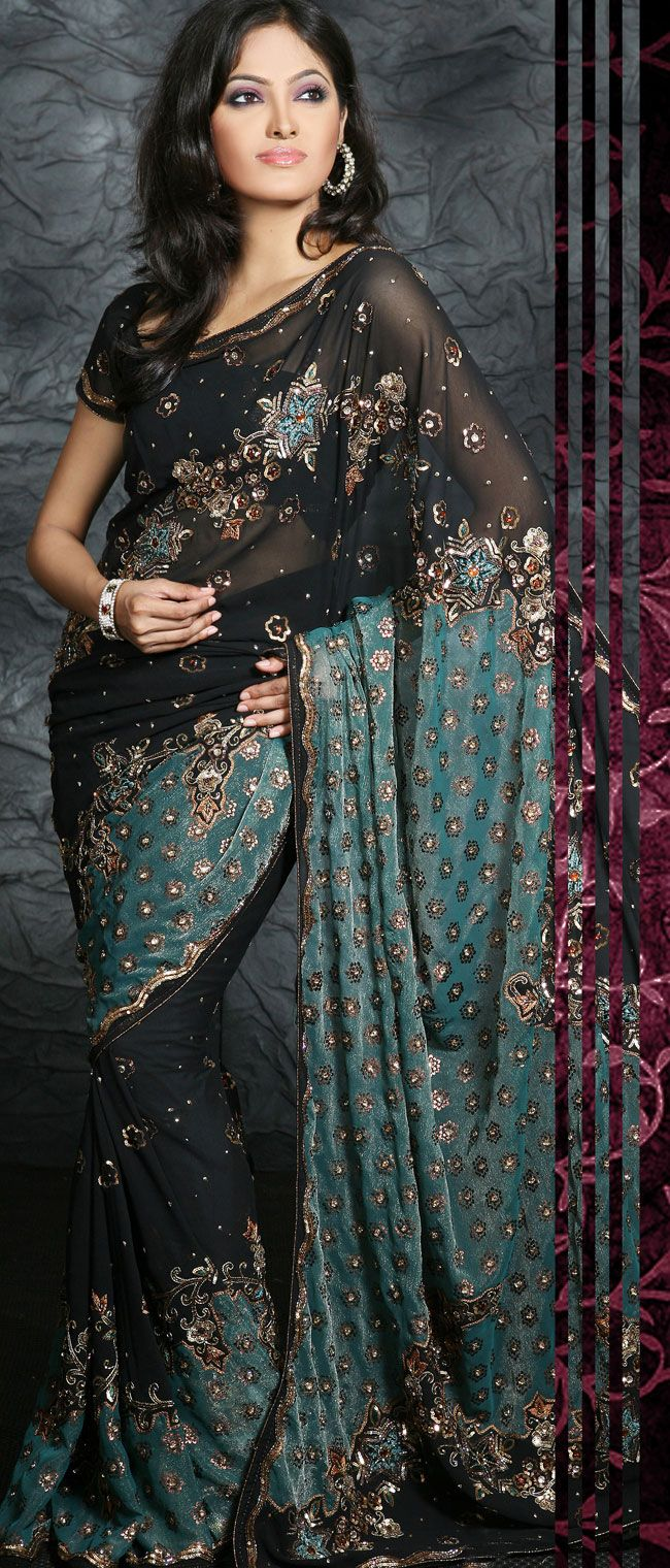 #Black Faux Georgette #Saree with Blouse