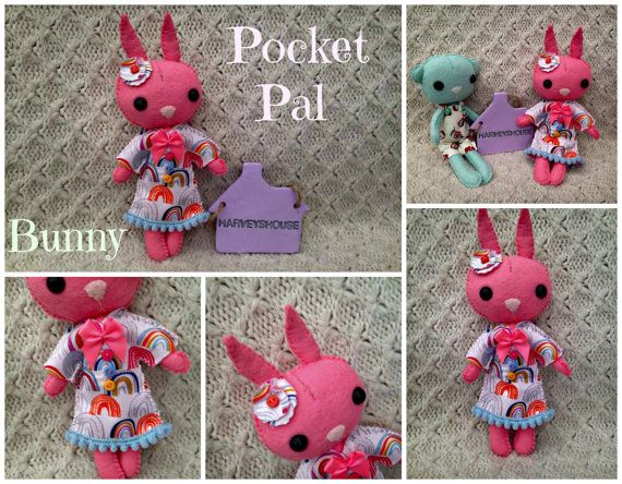 Handmade Felt Bunny  Rainbow Pocket Pal by HarveyshouseCrafts