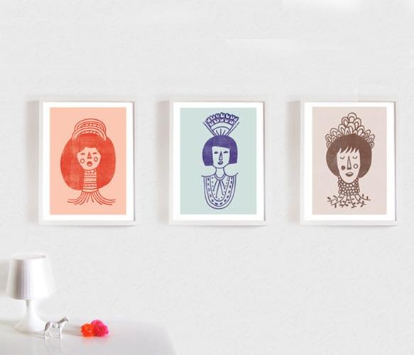 cute wall prints: Ornaments Print, Art, Wall Prints, Bathroom, Women, Three Prints