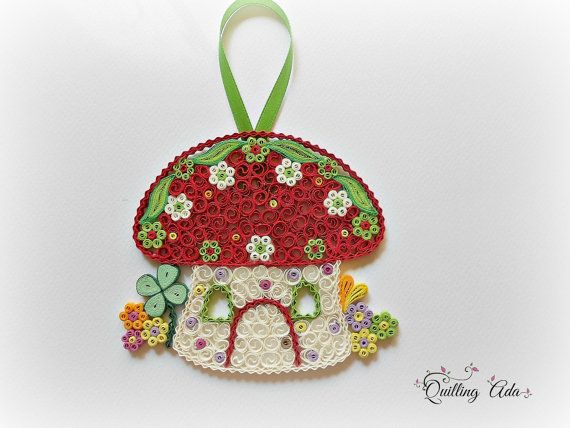 Christmas ornament  Quilled mushroom house by PaperArtbyAda