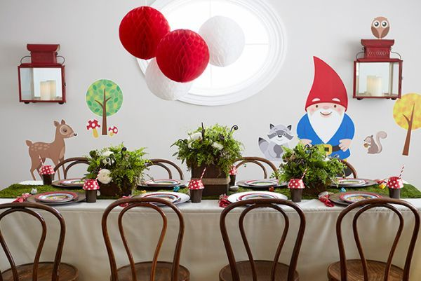 A woodland gnome kids party creates a one of a kind event. Full of mossy embellishments, tree-trunk accents, and fern centerpieces.