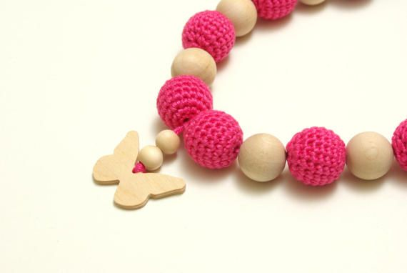 Nursing necklace teething necklace mommy and baby teething #PINKNursingnecklace, #pinkteethingnecklace