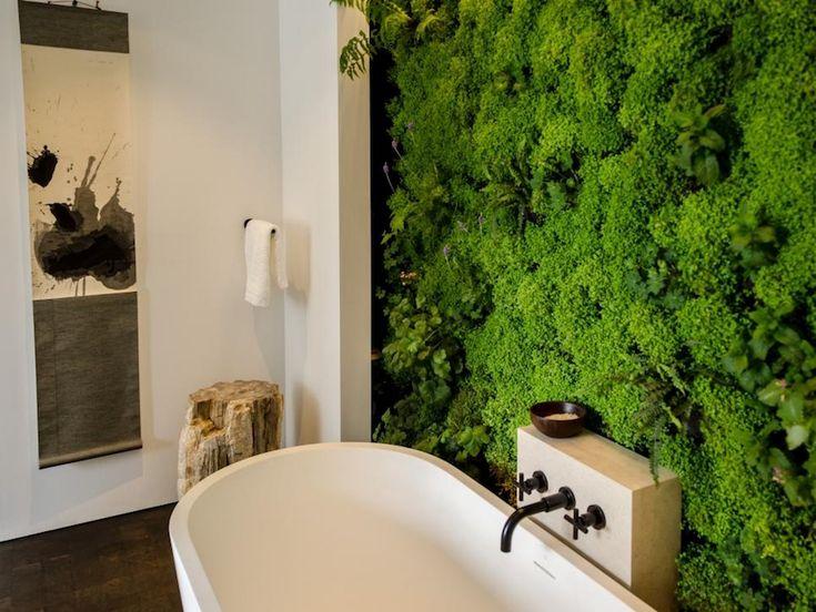 Luxury master bathrooms with living verdant wall. 50 Magnificent Luxury Master Bathroom Ideas ➤To see more Luxury Bathroom ideas visit us at www.luxurybathrooms.eu #luxurybathrooms #homedecorideas #bathroomideas @BathroomsLuxury