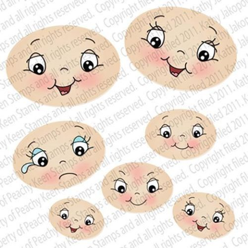 Peachy Keen Clear CLING Rubber Stamps ~ WIDE EYED KIDS FACE ASSORTMENT