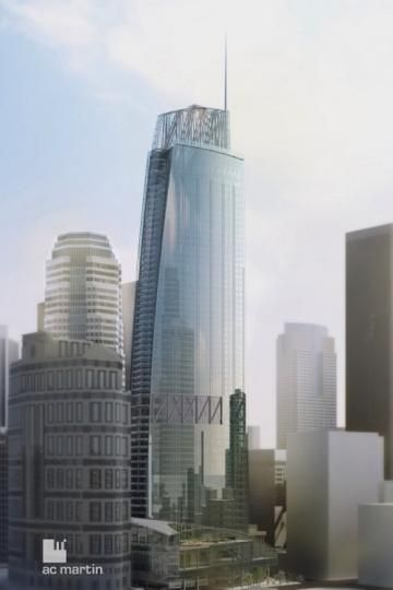 The glass façade of the new Wilshire Grand tower will incorporate LED lighting.