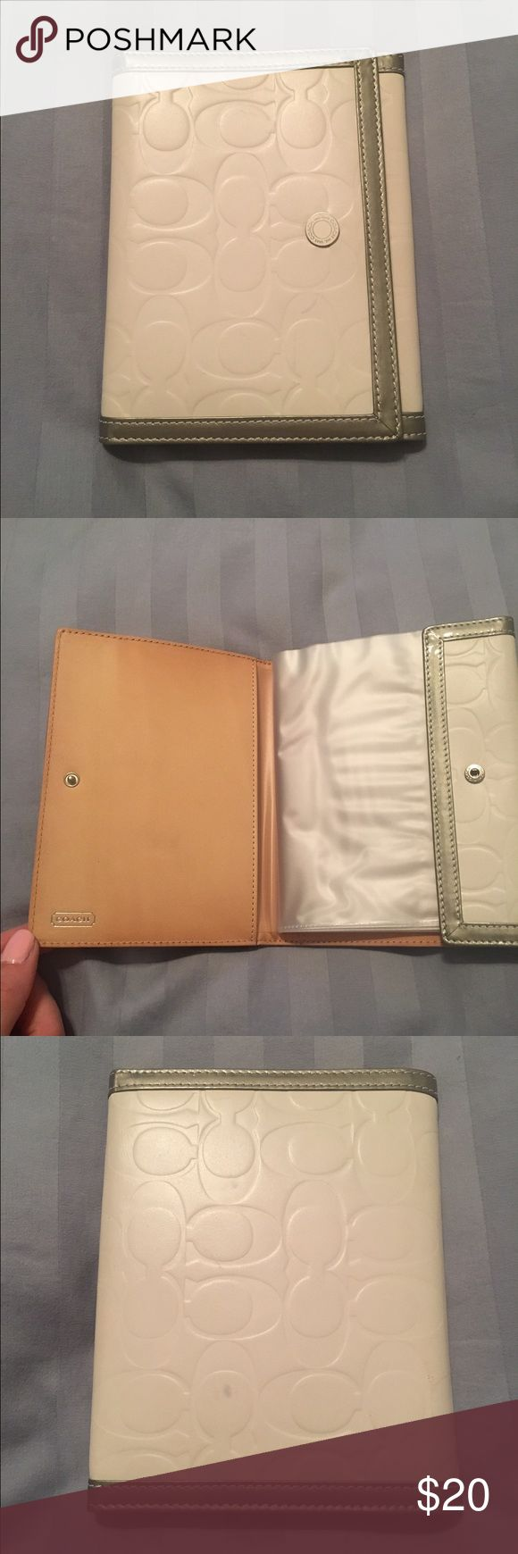 Coach Travel Photo Album In good condition, minor discoloration on the inside leather panel. Small black marks on the back and front. Photos have never been stored in the sleeves. Coach Accessories Key & Card Holders