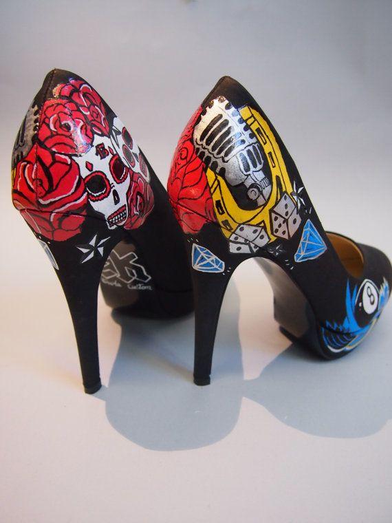 Hand painted high heels skulls roses old school by EnukaCustom, $130.00