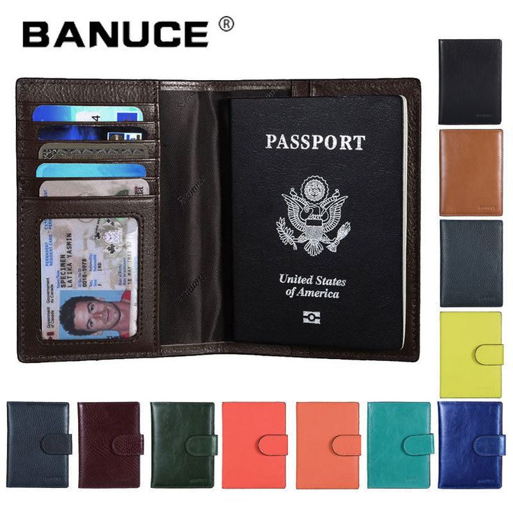 Mens Womens Genuine Leather Passport Holder Covers ID Card Case Travel Wallets #BANUCE