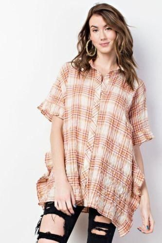 38c3e74a5e2 Easel Wide Ruffle Sides Plaid Shirt - Apricot in 2019 | Tops ...