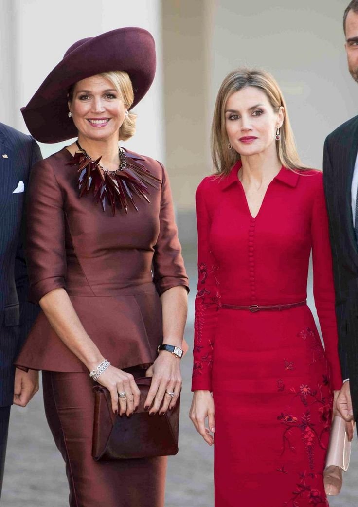 A pair of Queens Queen Maxima of Holland and Queen Letitzia of Spain at The Noordeinde Palace #Royals #Netherlands