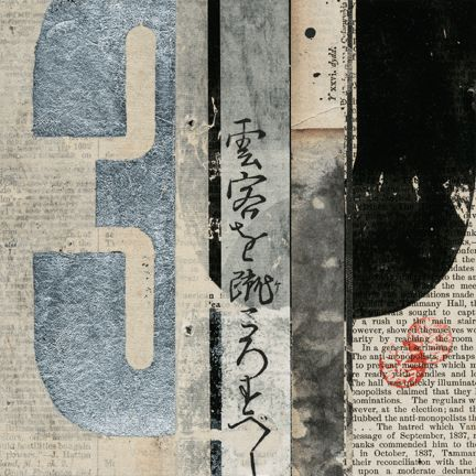 'Notations #28' by San Francisco-based printmaker & mixed media artist Janet Jones. Collage with metal leaf, 6 x 6 in. via the artist's site