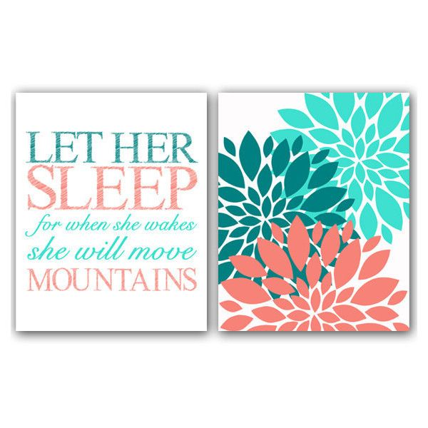 Coral Teal Turquoise Wall Art Let Her Sleep For when She Wakes She... (415 ZAR) ❤ liked on Polyvore featuring home, home decor, wall art, teal home decor, teal home accessories, coral wall art, flower wall art and coral home accessories