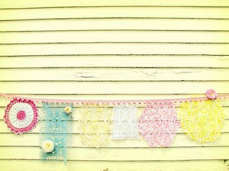 pretty: Cutest Garlands, Doilies Garlands, Pretty Doilies, Parties Ideas, Brink Design, October Afternoon, Design Blog, Baby Shower, Baby Stuff
