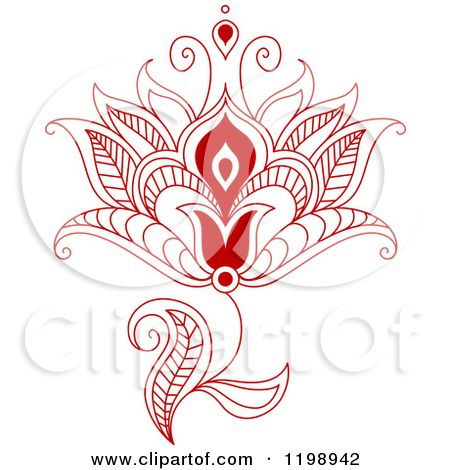 Clipart Of A Red Henna Flower  Royalty Free Vector