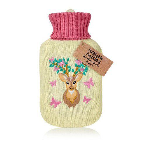 NPW Huggable Hot Water Bottle Winter Deer & Butterflies H...