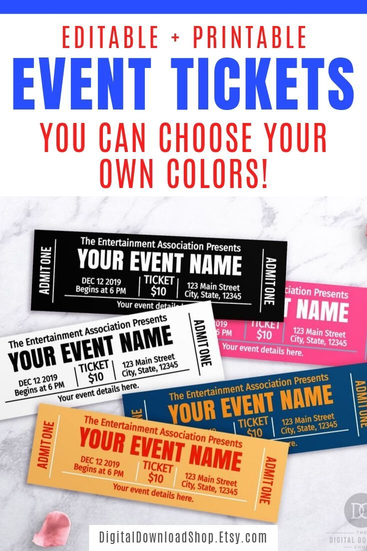 Event Ticket Template Printable Choose Your Own Colors Editable Event Tickets Diy Event Ticket Fake Editable Pass Diy Gift Ticket Ticket Template Printable Ticket Template Free Event Ticket Template Free event ticket template download