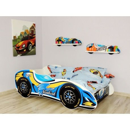 'Bluebird' designer racing car toddler starter bed - yellow and blue - The Little Bedroom Company