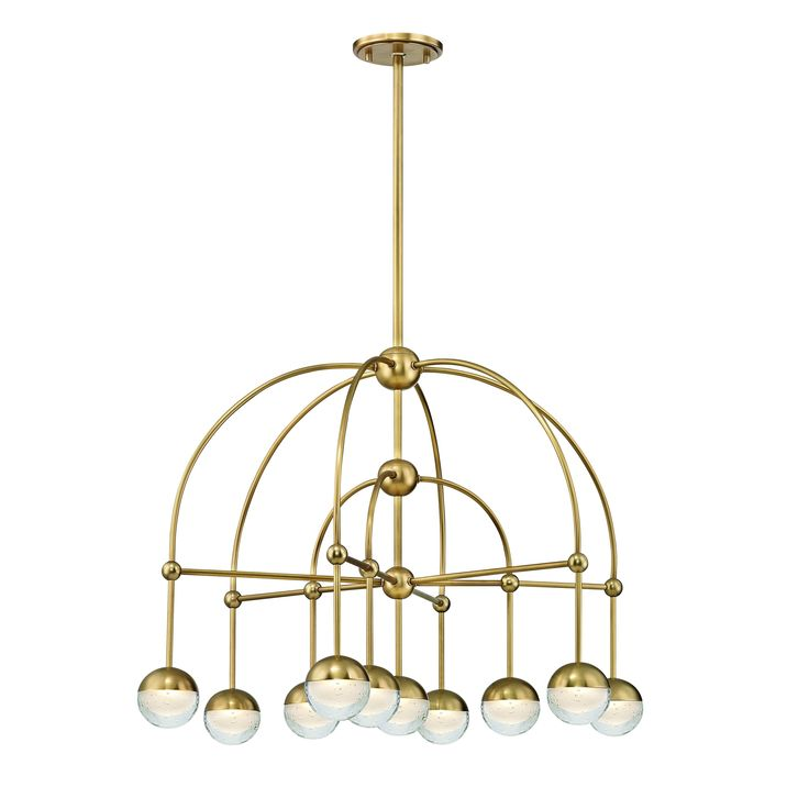 Hudson Valley Boca 10-light Aged Brass LED Chandelier, Clear, Etched Glass Shade, Brown, Hudson Valley Lighting