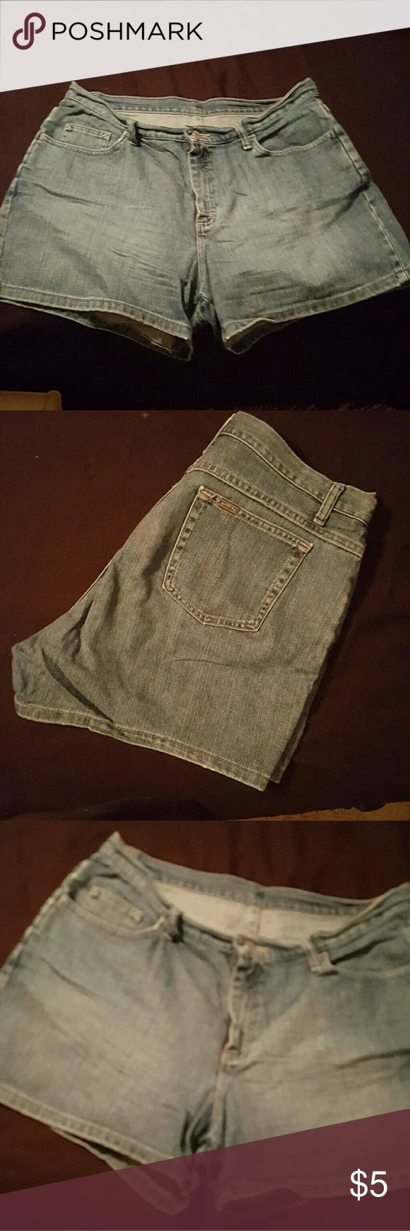 LEE RIDERS Denim Shorts size 16. Soft and comfy, but you'll still look great even if you venture out! These Lee Riders size 16 Regular. They're well made jeans that still have a ton of stretch to them. NO fraying, holes, or stains. Any questions, just ask! Thanks for checking out my closet :) Lee Shorts Jean Shorts