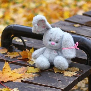 MADE to ORDER Grey Bunny stuffed toy Hand-Knitted bunny