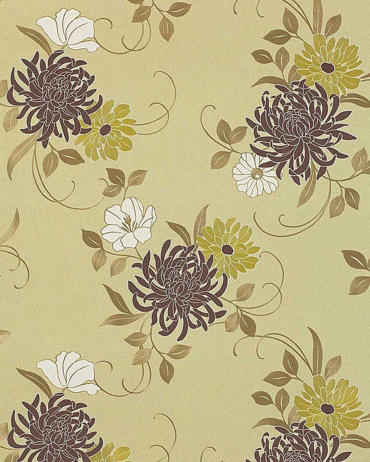 EDEM 824-28 высококачественные тисненые цветочные обои | оливково-зеленые с коричневыми цветами | 70 см