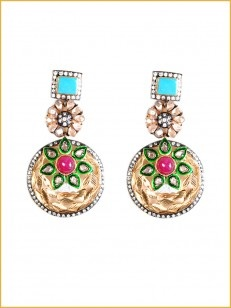 Gold textured earring with red stone and turquoise