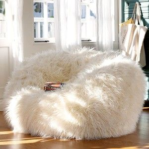 PB Teen Furlicious Beanbag, Large, Ivory at Pottery Barn Teen - Bean Bag Chairs - Lounge Bags - Teen Beanbag