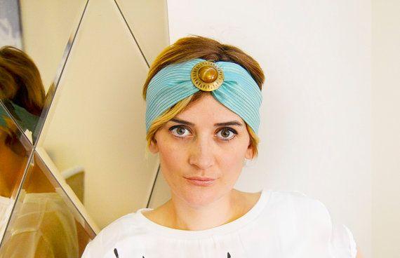 Mint Green with Mustard StripesTurban Headband by BizimFlowers