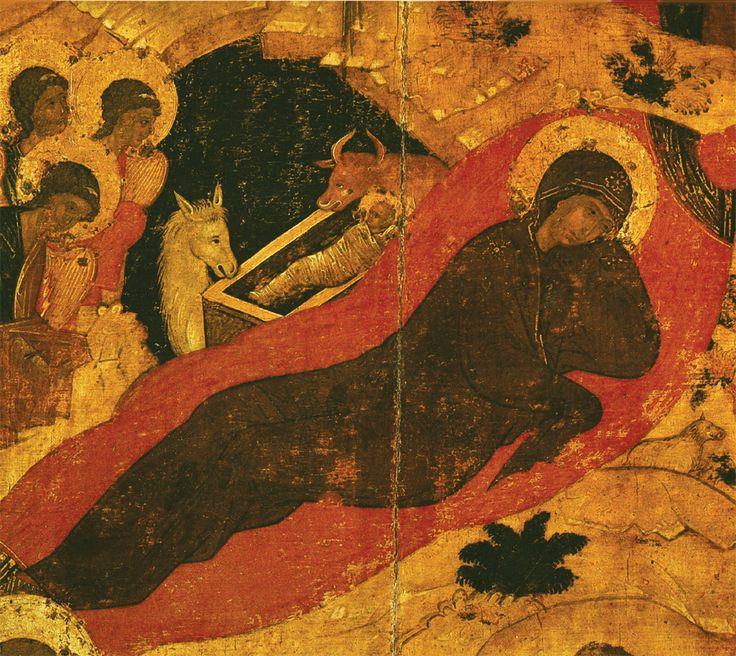 Фрагмент  1405 г.   РОЖДЕСТВО   ХРИСТОВО.    Икона праздничного чина иконостаса..