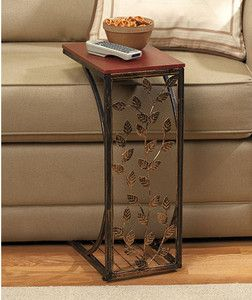 End Table Side Tray Metal Slide Under Sofa Couch Chair Vines Remote Leaves  New