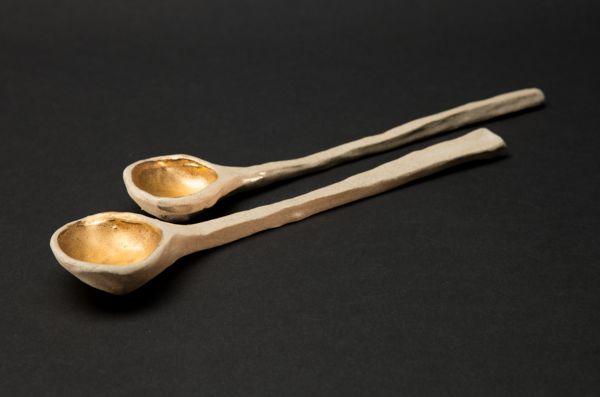 Gold Drop Stoneware Serving Spoons by Alice Walton
