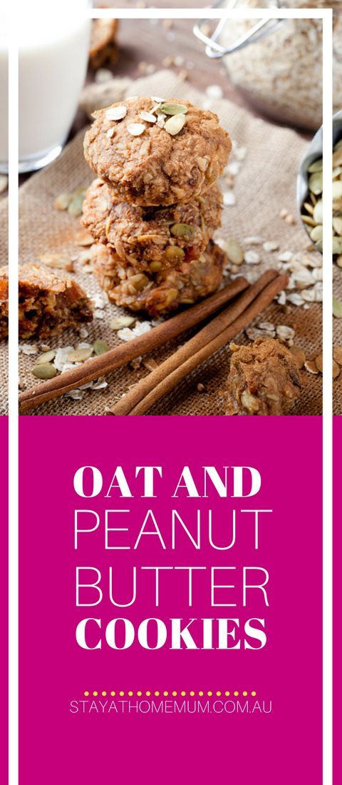 """""""They're super chewy and flavourful, combining the soft nourishment of peanut butter with wholesome oats and pumpkin seeds. """" #biscuits #peanutbutter"""