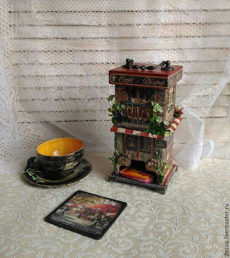 """Купить Чайный домик """" Итальянское кафе"""" - бордовый, чайный домик, чайный короб"""