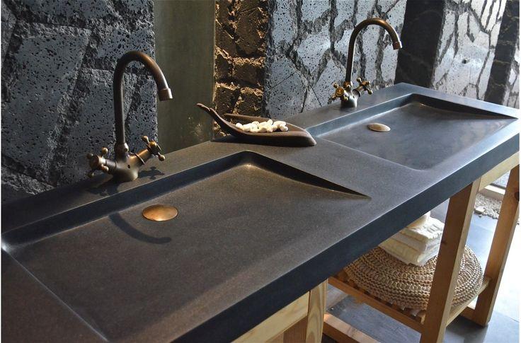 Double Vasque en pierre FOLE'GE SHADOW granit noir véritable 160x50