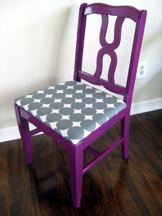 I like this chair, but I'd paint it white and do a light green fabric to match the kitchen walls, if the dining room is in the kitchen. purple fabric and gray and white seat