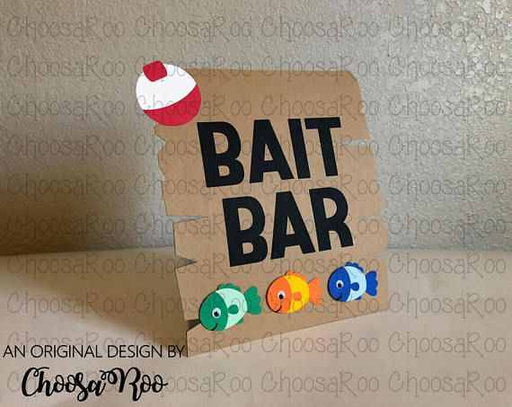 Fishing Party BAIT BAR Fish & Bobber Freestanding Sign